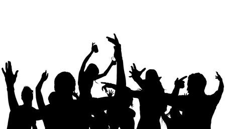 cheering crowd: Dancing Crowd Silhouette - Black Illustration