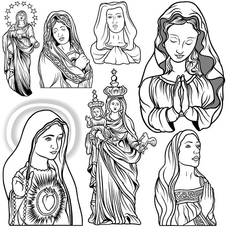 virgin mary: Virgin Mary Set - Black and White Outlined Illustrations, Vector