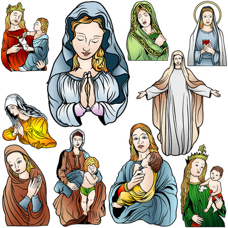 child praying: Virgin Mary Set - Colored Illustrations