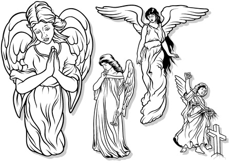 Angel Set - Black Outlined Illustrations Imagens - 43651065