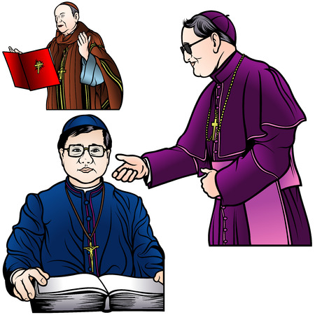 clerical: Bishop Set - Colored Illustrations Illustration