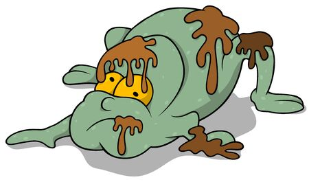unsightly: Garbage Monster - Colored Cartoon Illustration, Vector