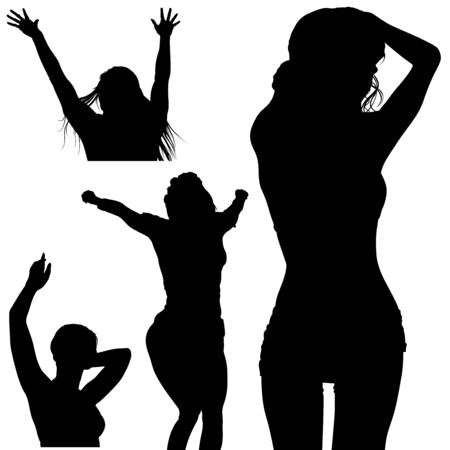cheer up: Girl Silhouette Set - Black Illustration, Vector Illustration