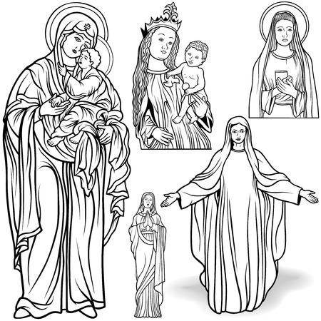 vierge marie: Vierge Marie Set - Illustrations en noir et blanc souligné, Vector Illustration