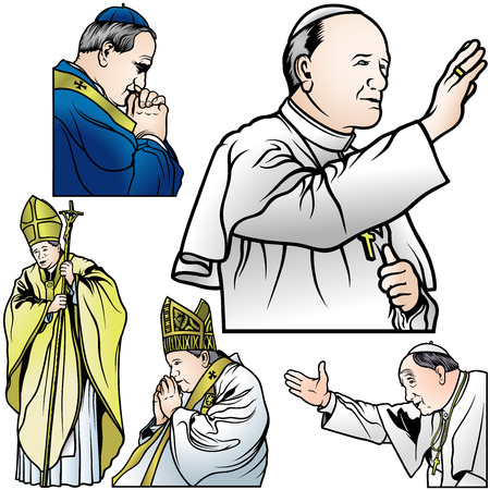 Pope Set - Colored Illustrations, Vector