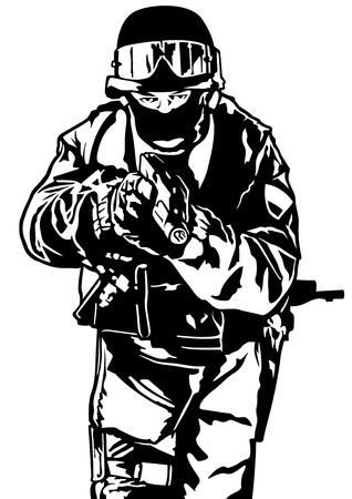 Special Police Forces - Black and White Illustration, Vector 일러스트