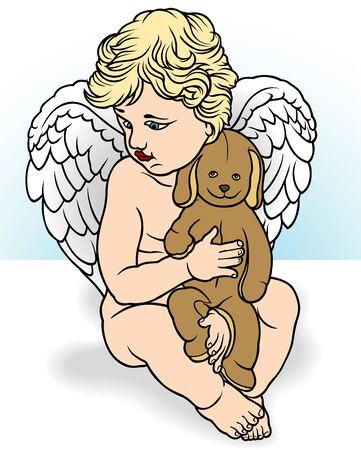 stuffed animal: Angel Holding Stuffed Animal - Illustration, Vector