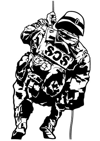 police unit: Special Police Forces - Black and White Illustration, Vector Illustration