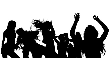 disco dancer: Dancing Crowd Silhouette - Black Illustration, Vector