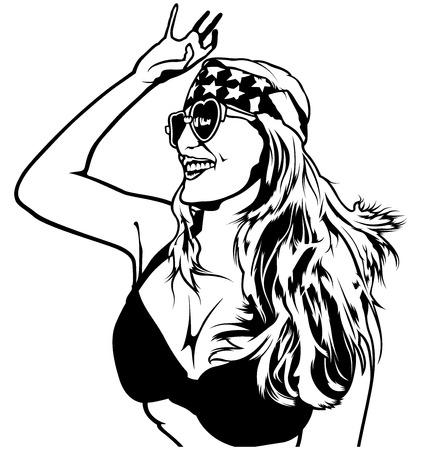 patriot: Patriot Girl on Dance Party - Illustration, Vector Illustration