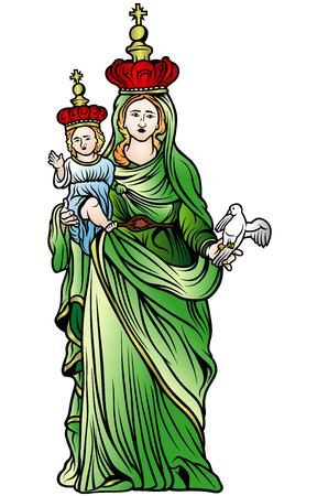 godly: Virgin Mary - Colored Illustration, Vector