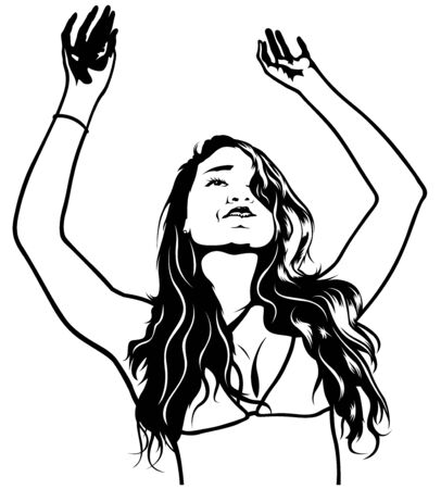 long haired: Girl with Hands Up - Dance Party Illustration, Vector