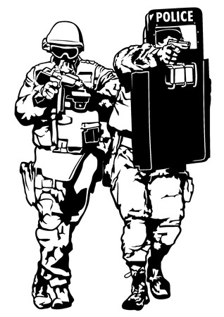 police body: Special Police Forces - Black and White Illustration, Vector Illustration
