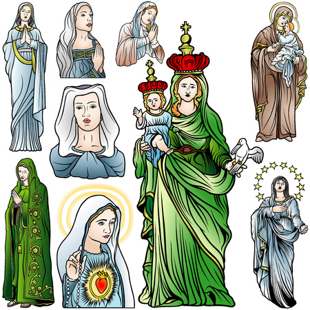 virgin mary: Virgin Mary Set - Colored Illustrations, Vector