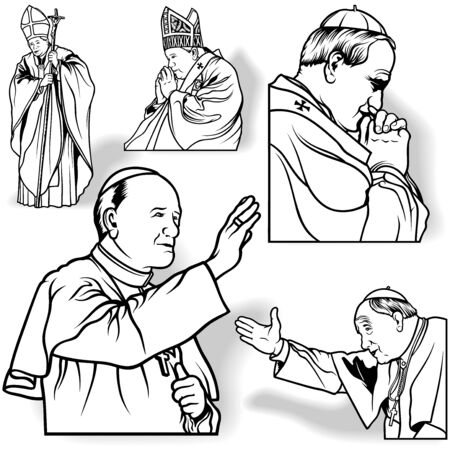 clergy: Pope Set - Outlined Illustrations, Vector