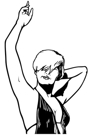 long haired: Dancing Woman with Hand Up - Illustration, Vector