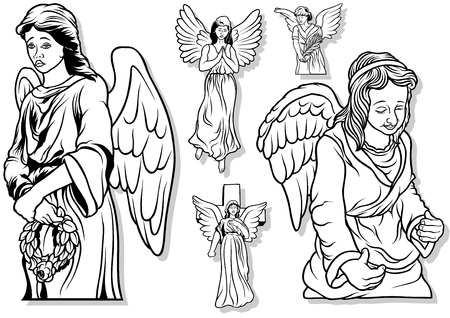 the christian religion: Angel Set - Black Outlined Illustrations, Vector Illustration