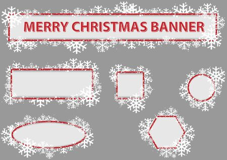 christmas banner: Christmas Banner Set - Snowflakes and Snow, Vector Illustration Illustration