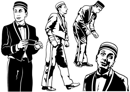 bellhop: Bellhop Set - Black and White Illustration, Vector Illustration