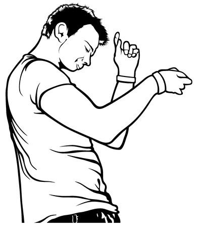 lad: Baile del hombre joven con la cara so�adora - Ilustraci�n, Vector Vectores