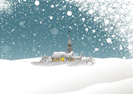 church: Paisaje de invierno y nieva - Antecedentes de Navidad Ilustración, Vector