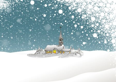 snow capped: Winter Landscape and Snowing - Background Xmas Illustration, Vector