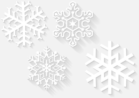 3D Snowflake Set - Winter Design Elements, Vector Illustration