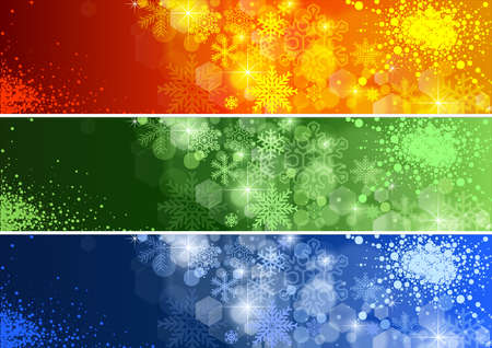 christmas banner: Set of Defocused Christmas Banner - Background Illustrations, Vector