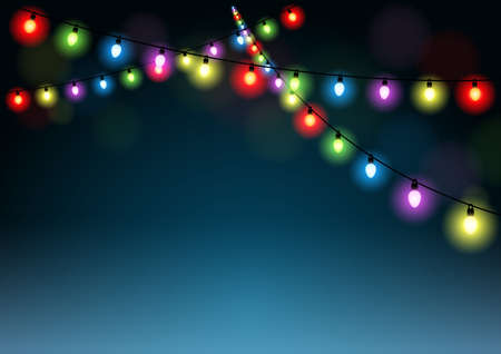 string: Christmas Lights Background - Holiday Multicolored Illustration, Vector Illustration