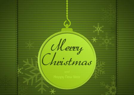 hem: Green Christmas Greeting Card with Christmas Ball and Snowflakes - Vector