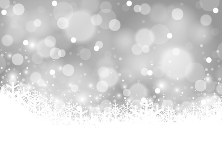 White Xmas Blurry Background and Snowing - Abstract Illustration, Vector Illustration