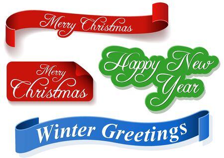 ribbon banner: Holiday Banner Set - Colored Illustrations, Vector