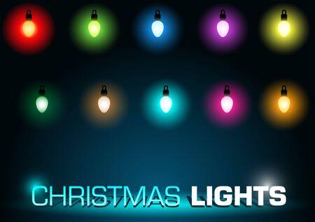 christmas lights: Christmas Lights Colorful Set - Design Elements, Vector Illustration Illustration