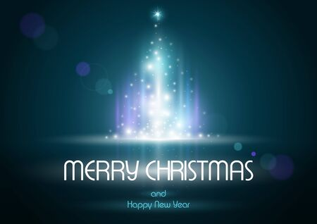 christmas tree illustration: Abstract Lightning Christmas Tree - Background Illustration, Vector Illustration