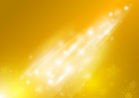 Yellow Abstract Xmas Greetings Card with Snowflakes - Background Illustration, Vector