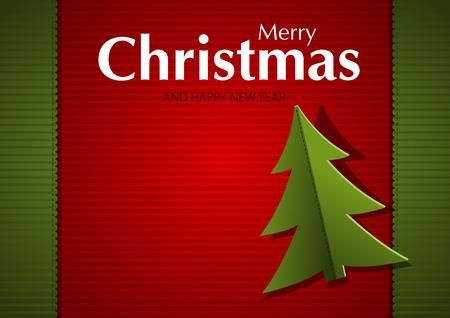 hem: Christmas Greeting Card - Striped Background Illustration, Vector Illustration