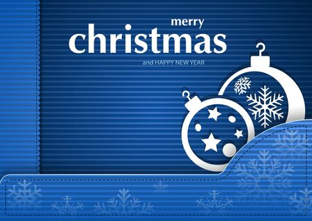 blue ball: Blue Christmas Striped Card with Baubles - Greeting Card Illustration, Vector