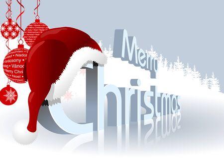 mirroring: Merry Christmas Greeting Card - Winter Illustration, Vector
