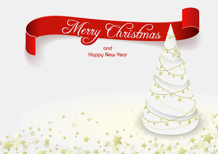 greeting card background: White Christmas Tree Greeting Card - Background Illustration, Vector