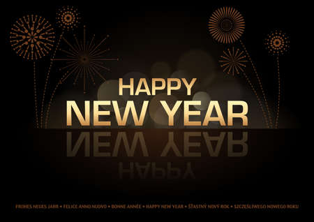 mirroring: Happy New Year Greeting Card - Golden Text and Fireworks over Black, Vector