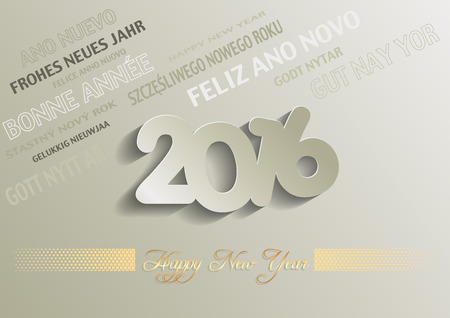 multilingual: Happy New Year 2016 Greeting Card - Multilingual Texts, Illustration