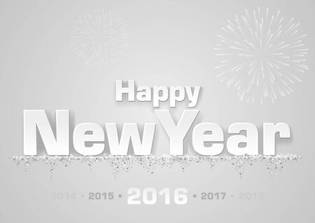 new year greeting: Happy New Year Greeting Card - White Illustration, Vector