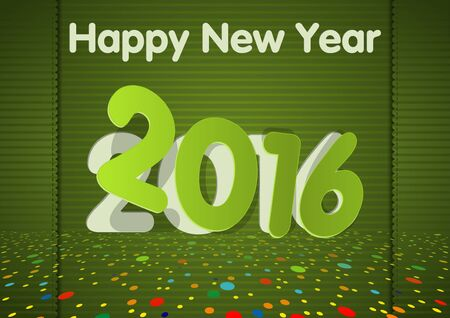 hem: Green Happy New Year Greeting Card with Colorful Decoration - Illustration, Vector