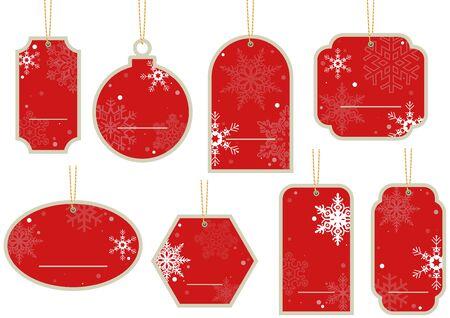 Kerst Prijskaartje - Opknoping Red Label Set, Illustratie Stock Illustratie