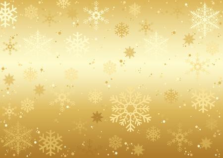 Kerstmis Sneeuwvlokken Textuur - Gouden Achtergrond Illustratie Stock Illustratie