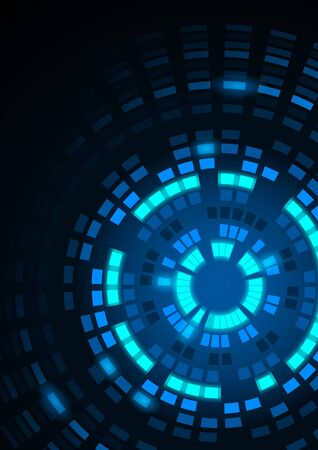 segmented: Abstract Background with Glowing Blue Segmented Circles - Illustration