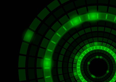 segmented: Abstract Background with Glowing Green Segmented Circles - Illustration Illustration