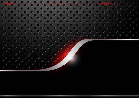 black metallic background: Metallic Dotted Grid and Silver Line with Red Glow Effect - Background, Vector