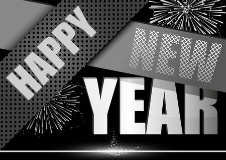 new year greeting: Happy New Year Greeting Card - Modern Black Illustration Illustration