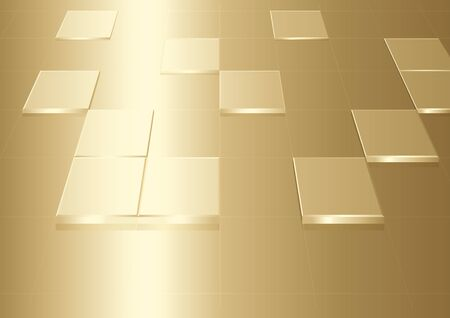 metallic background: Gold Background With Squares - Metallic Abstract Illustration